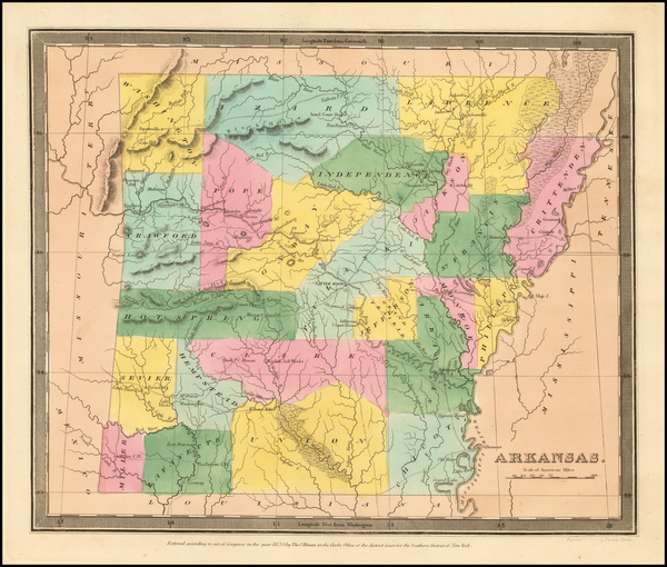 25-Arkansas Map By David Hugh Burr