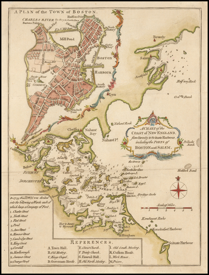 34-Massachusetts, Boston and American Revolution Map By London Magazine / John Lodge
