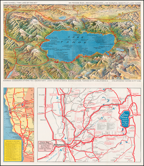 65-Nevada, Pictorial Maps, California and Other California Cities Map By Gerald A. Eddy