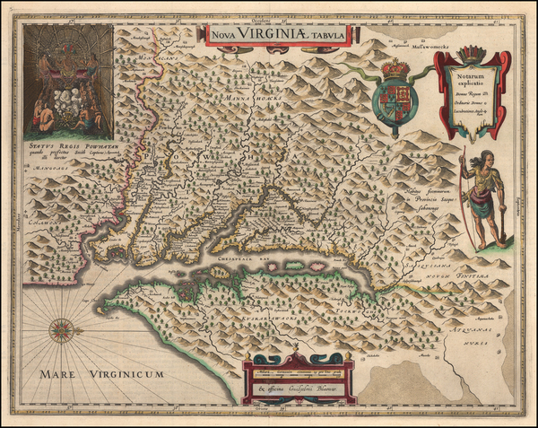 42-Mid-Atlantic and Southeast Map By Willem Janszoon Blaeu