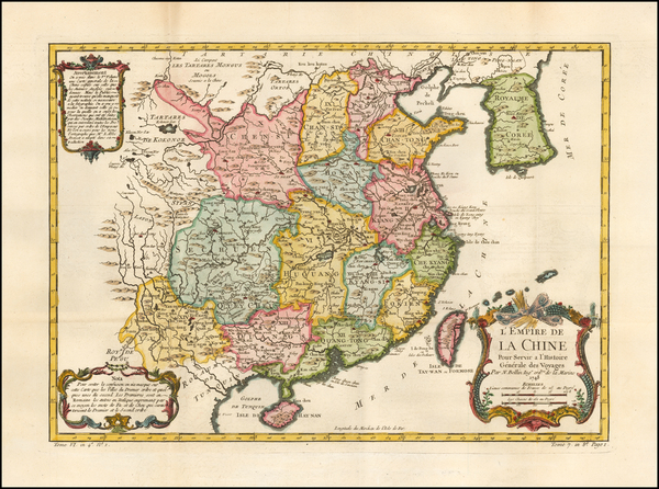 36-China and Korea Map By Jacques Nicolas Bellin
