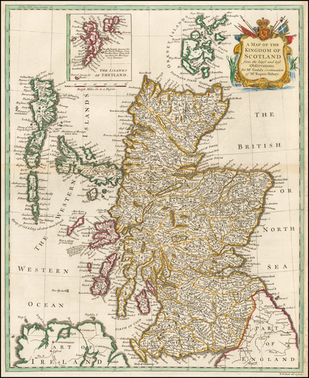 52-Scotland Map By Paul de Rapin de Thoyras / Nicholas Tindal