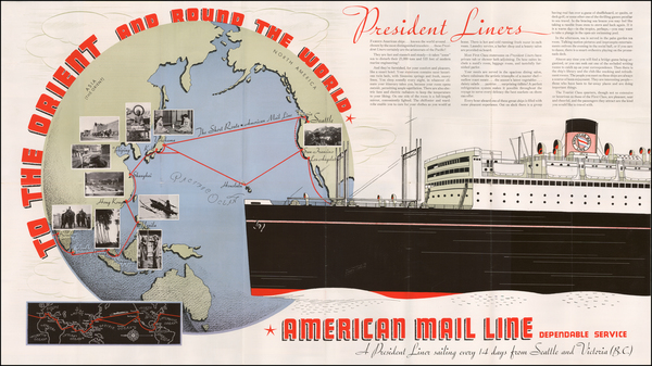 75-Pacific Ocean, China and Southeast Asia Map By American Mail Line