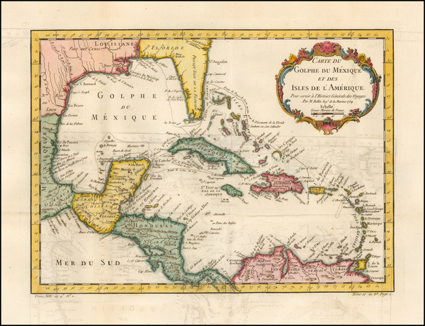 24-Southeast and Caribbean Map By Jacques Nicolas Bellin