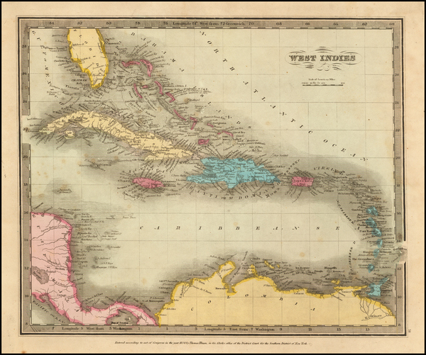 55-Caribbean Map By David Hugh Burr