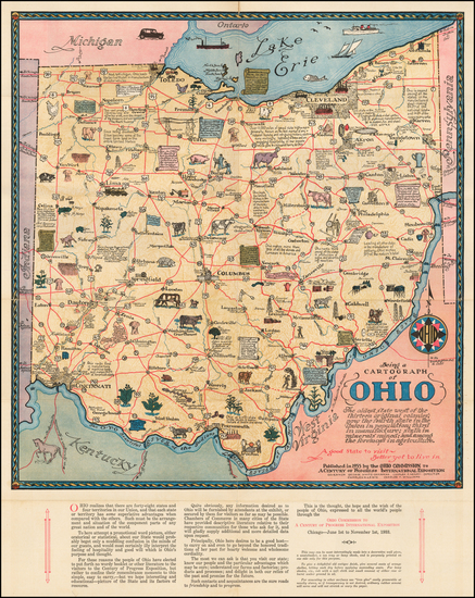 22-Ohio and Pictorial Maps Map By Sewah Studios
