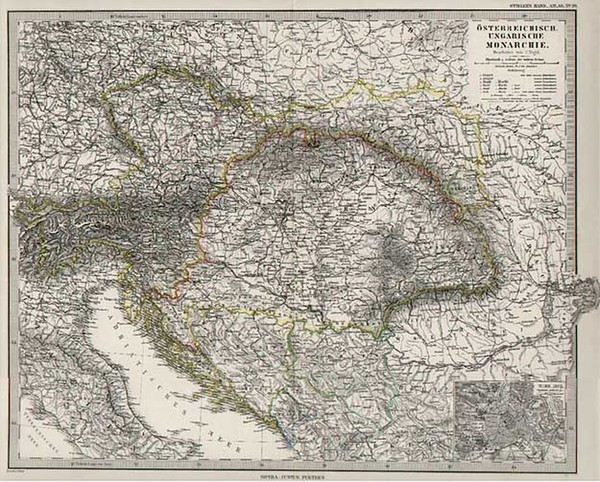 69-Europe, Austria, Hungary, Czech Republic & Slovakia and Balkans Map By Adolf Stieler