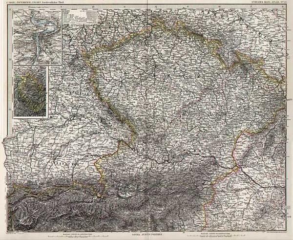 83-Europe, Austria, Hungary and Czech Republic & Slovakia Map By Adolf Stieler