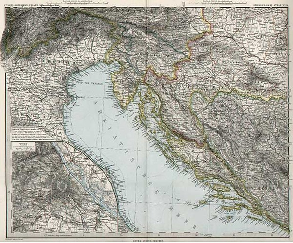 24-Europe, Hungary, Balkans and Italy Map By Adolf Stieler