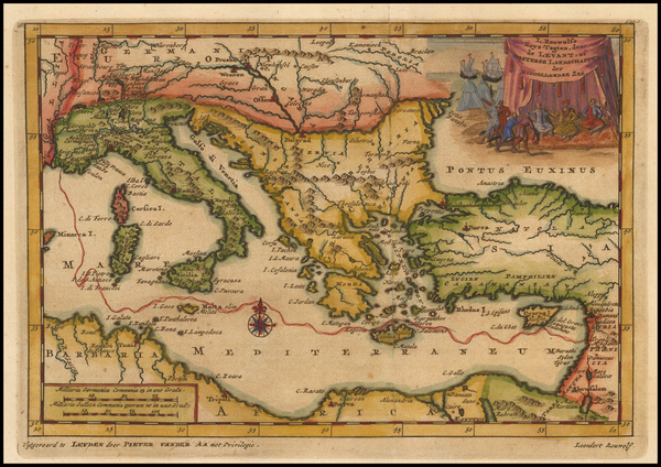 69-Greece, Turkey, Mediterranean, Balearic Islands, Middle East and Turkey & Asia Minor Map By