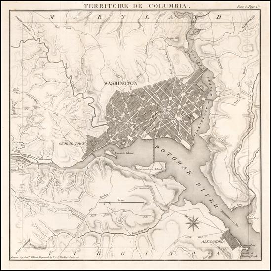 54-Washington, D.C. Map By Pierre Antoine Tardieu