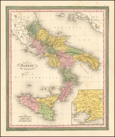 67-Italy and Southern Italy Map By Samuel Augustus Mitchell