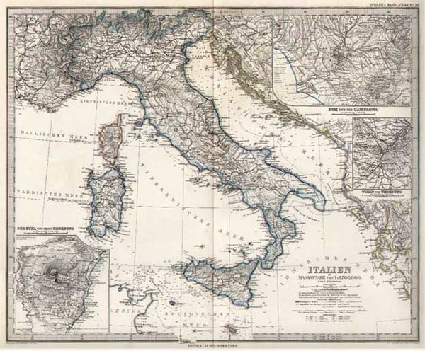62-Europe and Italy Map By Adolf Stieler