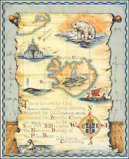 65-Polar Maps and Iceland Map By R. B. Starr