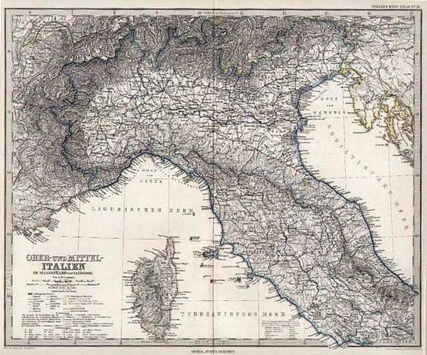 41-Italy Map By Adolf Stieler
