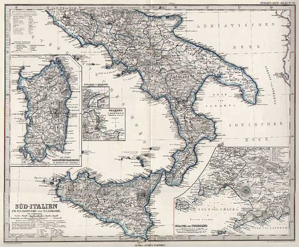 71-Europe and Italy Map By Adolf Stieler