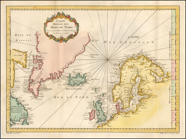 100-Atlantic Ocean and Scandinavia Map By Jacques Nicolas Bellin