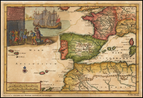 38-France, Spain and North Africa Map By Pieter van der Aa