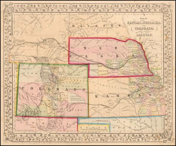 81-Plains, Kansas, Nebraska, Southwest, Rocky Mountains and Colorado Map By Samuel Augustus Mitche