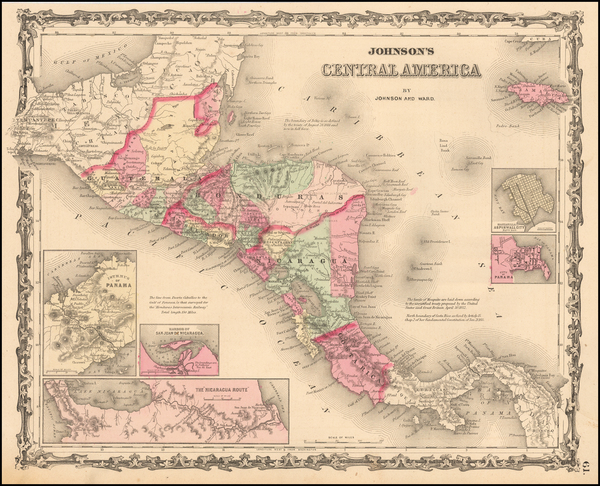 71-Central America Map By Benjamin P Ward  &  Alvin Jewett Johnson