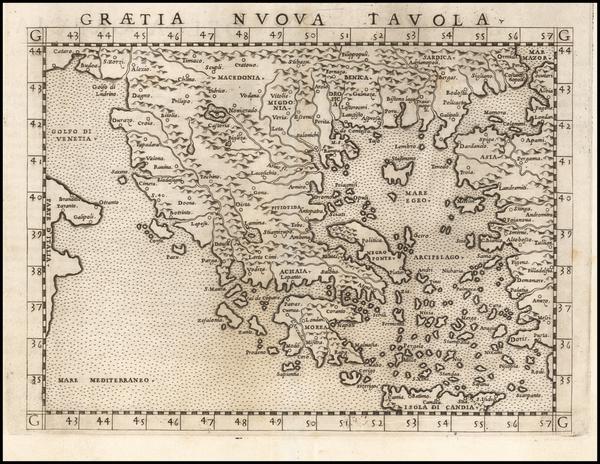 63-Greece Map By Girolamo Ruscelli