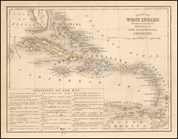 54-Caribbean Map By Samuel Augustus Mitchell
