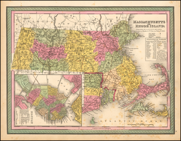59-Massachusetts, Rhode Island and Boston Map By Samuel Augustus Mitchell
