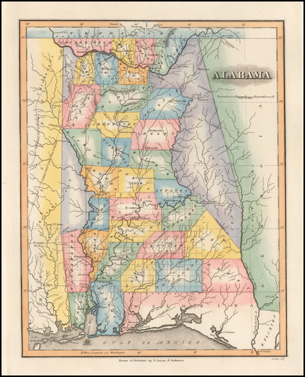 42-Alabama Map By Fielding Lucas Jr.