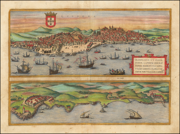98-Portugal Map By Georg Braun  &  Frans Hogenberg