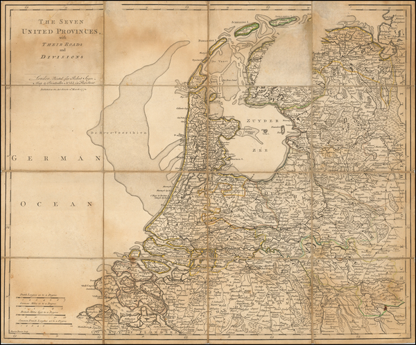 Netherlands Map By Robert Sayer