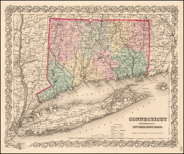 53-Connecticut Map By Joseph Hutchins Colton