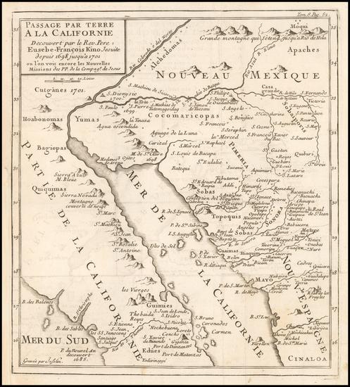 36-Southwest, Mexico, Baja California and California Map By Fr. Eusebio Kino / Inselin