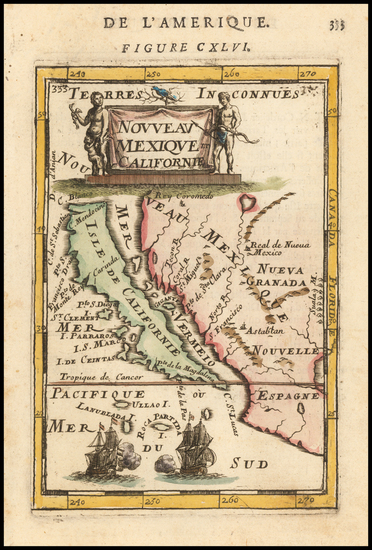 35-Baja California, California and California as an Island Map By Alain Manesson Mallet