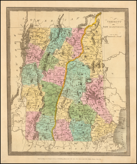 New Hampshire and Vermont Map By David Hugh Burr