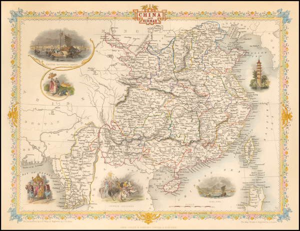 China and Southeast Asia Map By John Tallis
