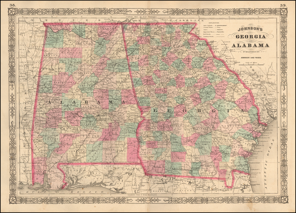 100-South, Alabama, Southeast and Georgia Map By Benjamin P Ward  &  Alvin Jewett Johnson
