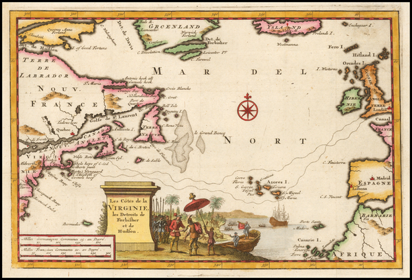 0-Atlantic Ocean, New England, Mid-Atlantic and Canada Map By Pieter van der Aa