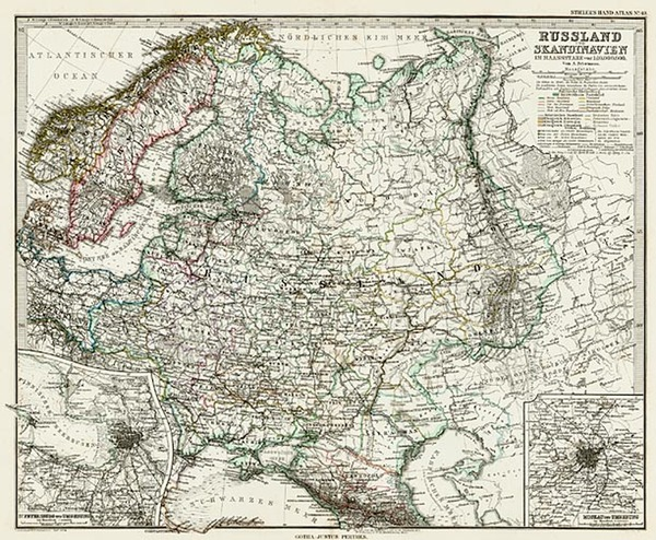 51-Europe, Russia and Scandinavia Map By Adolf Stieler
