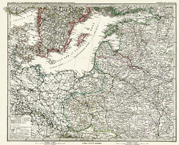 84-Europe, Poland, Russia, Baltic Countries and Scandinavia Map By Adolf Stieler