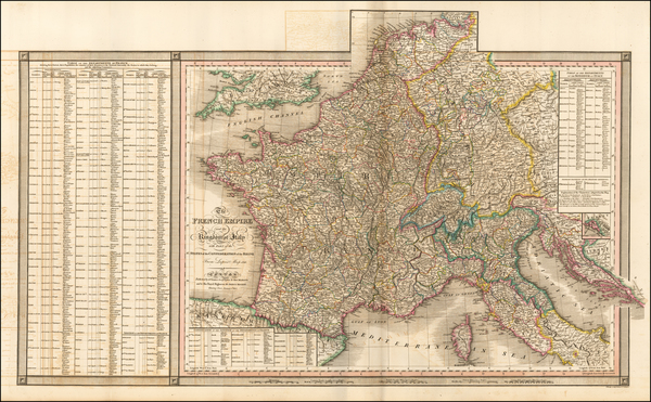 46-France and Northern Italy Map By William Faden