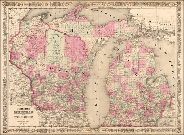 89-Midwest, Michigan and Wisconsin Map By Benjamin P Ward  &  Alvin Jewett Johnson