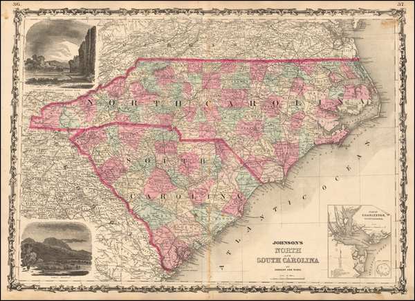 12-North Carolina and South Carolina Map By Benjamin P Ward  &  Alvin Jewett Johnson