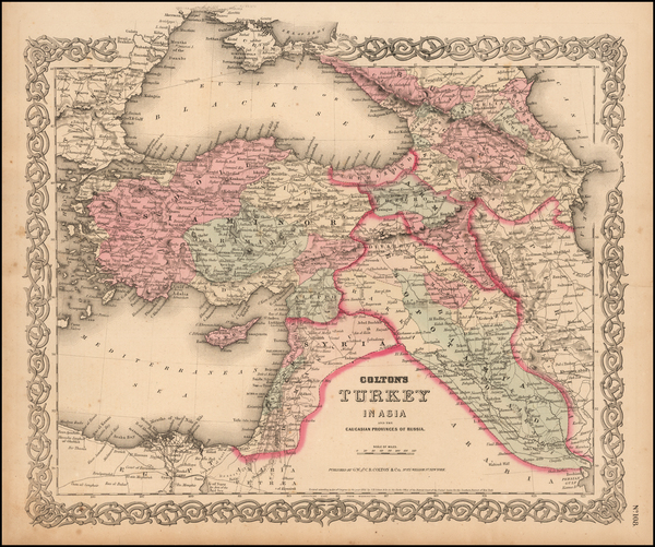 4-Central Asia & Caucasus and Turkey & Asia Minor Map By Joseph Hutchins Colton