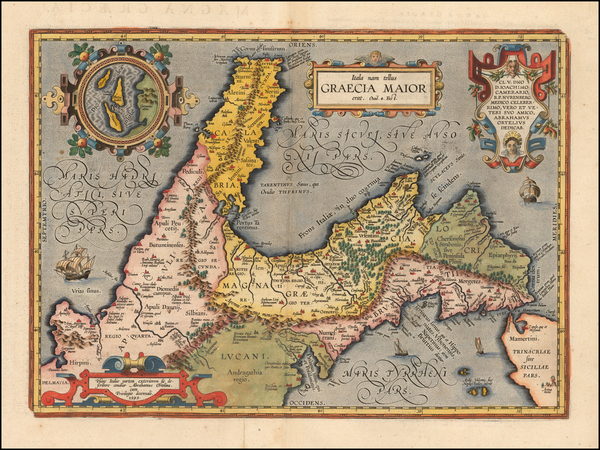 27-Southern Italy Map By Abraham Ortelius