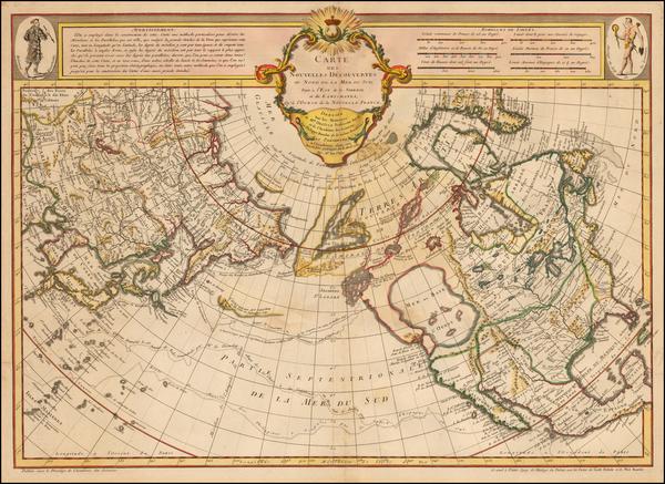 68-Polar Maps, Alaska, North America, Canada, Pacific and Russia in Asia Map By Philippe Buache /