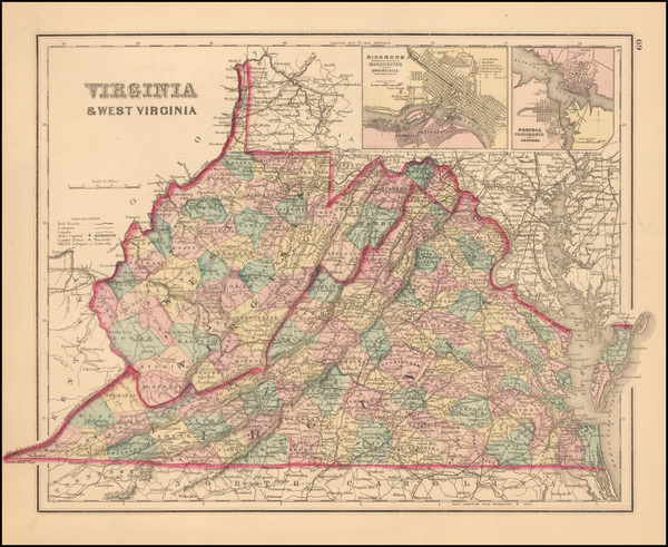 57-West Virginia and Virginia Map By O.W. Gray