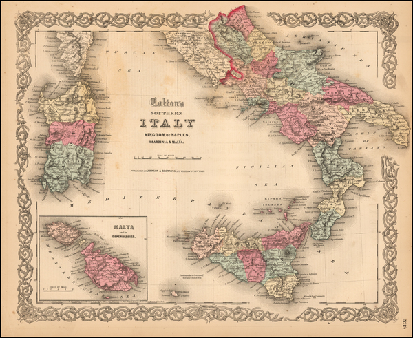 63-Italy, Southern Italy, Mediterranean and Balearic Islands Map By Joseph Hutchins Colton