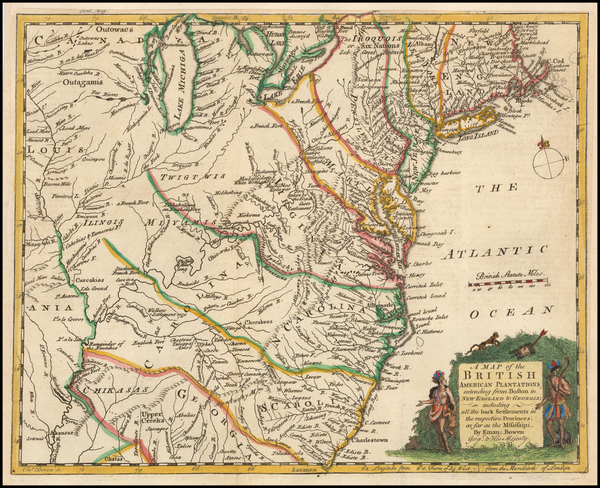 United States, Mid-Atlantic, Southeast and Midwest Map By Gentleman's Magazine