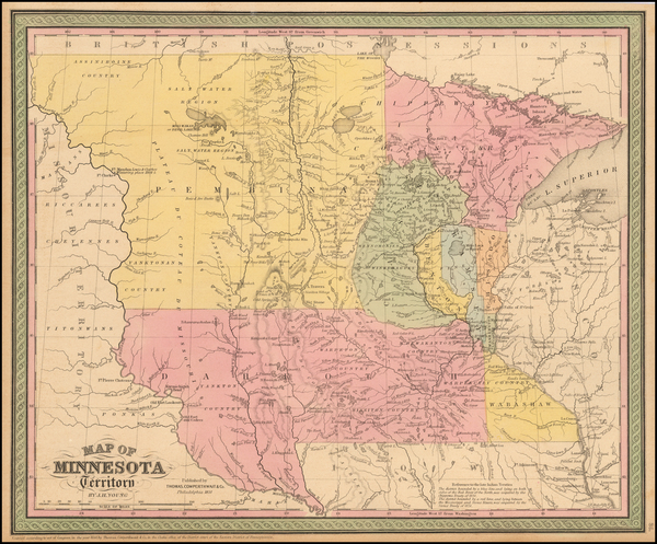 71-Midwest, Minnesota and Plains Map By Thomas, Cowperthwait & Co.