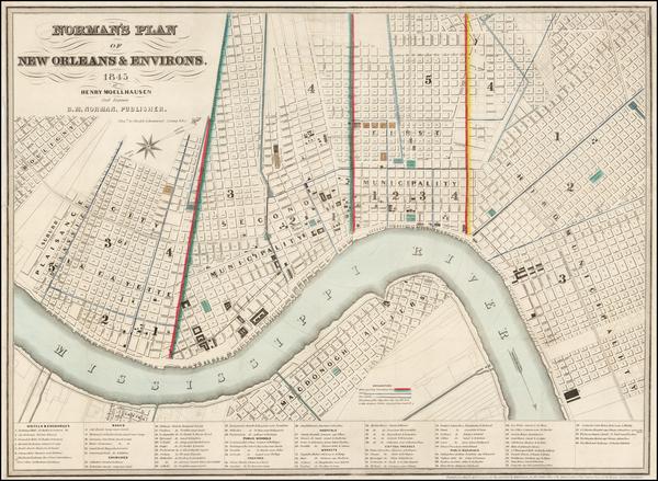 46-Louisiana Map By B. M. Norman